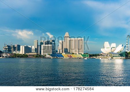 Marina Bay With View Of Artscience Museum And Buildings On Raffles Avenue