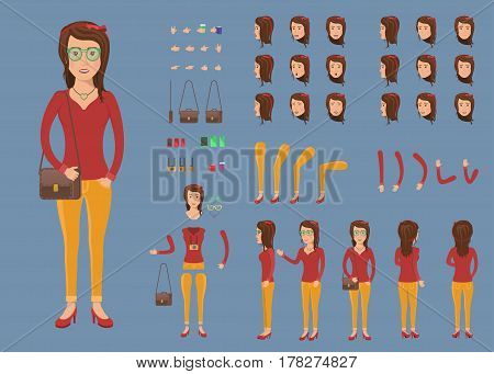 Creation set of hipster woman character with bag for create animation. Separate part of female person. Various types of faces and emotions. Front, side, back view of woman. Vector illustration.