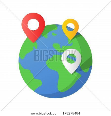 Planet Earth and map pins icon. Earth globe and colorful map labels. Modern graphic elements for web banners, web sites, printed materials, infographics. Flat design vector illustration