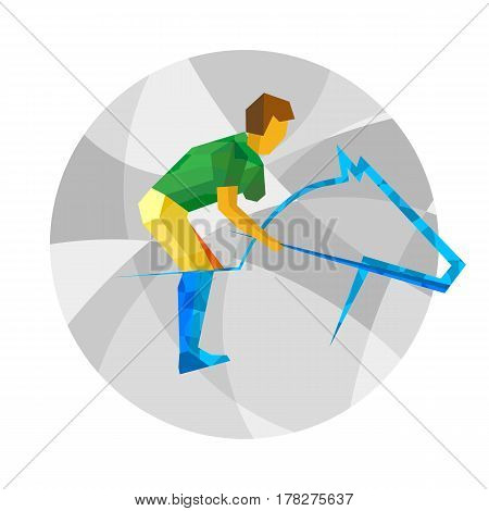 Physically Disabled Horseman With Abstract Patterns. Flat Sport Icon.