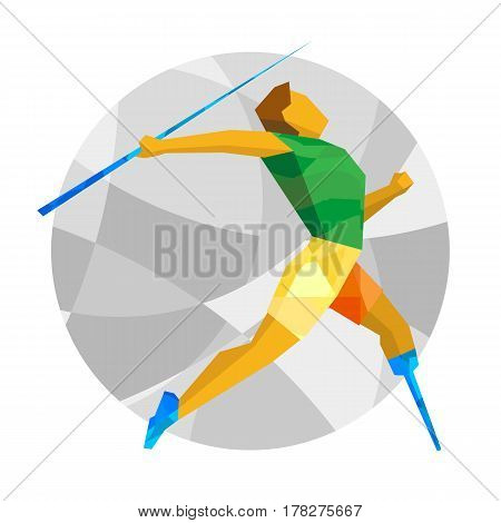 Physically Disabled Sportsman Throwing Javelin. Flat Sport  Icon.