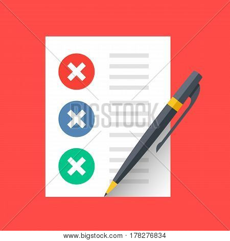 Document with crosses check marks and pen. Unfinished tasks, survey, to-do list concepts. Modern flat design vector icon