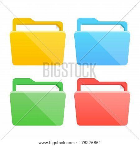 Folder icons set. Flat design graphic elements, colorful folders flat icons set. Vector illustration isolated on white background