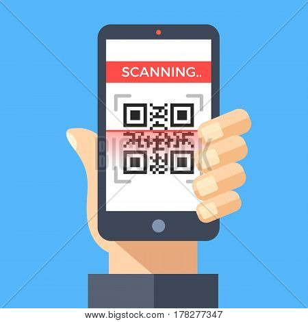 Scanning QR code with smartphone. Processing, reading QR code with mobile phone. Hand holding smartphone. Flat design graphic concept for web banners, websites, printed materials. Vector illustration