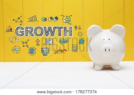 Growth Text With Piggy Bank
