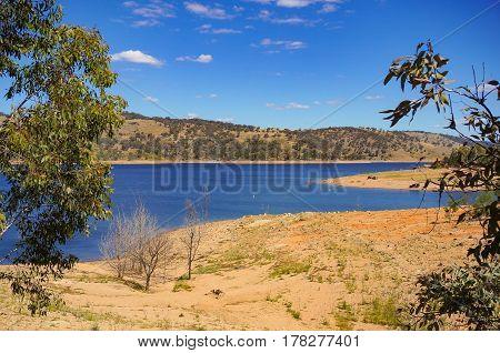 Beautiful Australian Landscape With Lake On Sunny Day