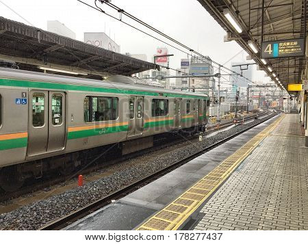 UENO JAPAN 15 FEB 2017:  Train waiting for the passenger at the Ueno station. JR West is the biggest railway companies in western. JAPAN 14 December 2015