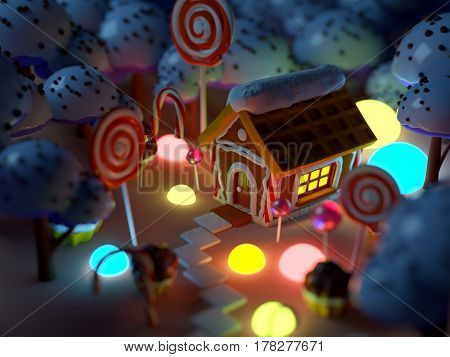candy landscape at night with gingerbread house in sweet forest and magic light . 3d illustration.
