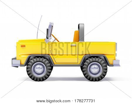 Yellow safari suv side view in retro cartoon style isolated on white. 3d illustration.