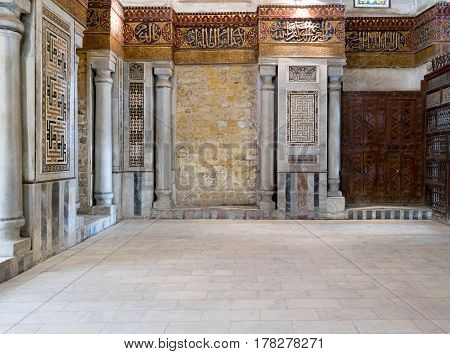 Cairo, Egypt - March 25 2017: Interior view of decorated marble walls surrounding the cenotaph in the mausoleum of Sultan Qalawun, part of Sultan Qalawun Complex, 1285 AD, located in Al Moez Street