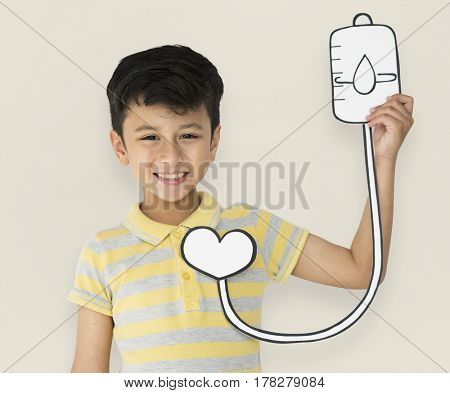 Little Boy Holding Blood Bag Transfusion Paper
