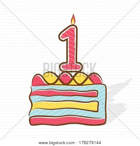 1st birthday or anniversary greeting design with piece of cake