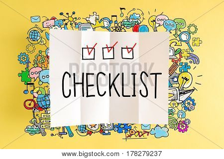 Checklist Text With Colorful Illustrations