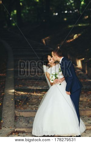 Stylish Wedding Couple Poses On The Footsteps In The Park