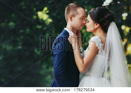 Bride Holds Groom's Bow Tie Leaning To His Face
