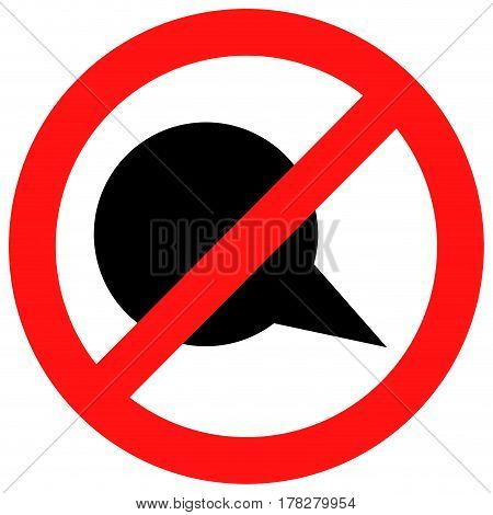 Ban speak icon. Sign no speak forbidden and warning voice talk vector illustration