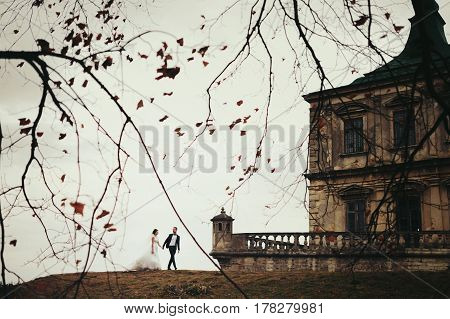 Bride And Groom Walk On The Hill With A Great Castle Behind Them