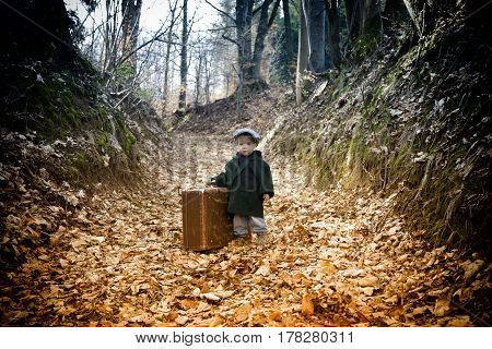 Lonely Boy With Suitcase