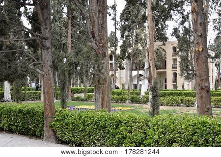 Fin, Kashan, Esfahan, Iran, March 23, 2017, is a historical Persian garden. It contains Kashan's Fin Bath, where Amir Kabir, the Qajarid chancellor, was murdered by an assassin sent by King Nasereddin Shah in 1852.