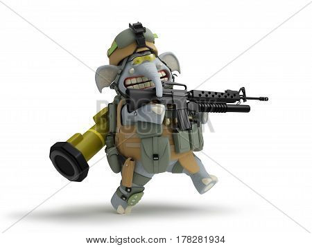 Soldier elephant walks 3D illustration in cartoon game style .
