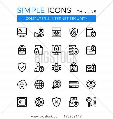 Internet security, cybersecurity, computer protection vector thin line icons set. 32x32 px. Line graphic design for website, web design, mobile app, infographic. Pixel perfect vector outline icons set