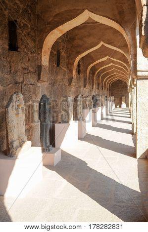 Hampi, India - 12 January 2015:  Sculptures at Royal Centre on Hampi India