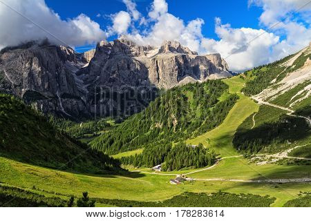 high Badia Valley on background Sella mount Alto Adige Italy