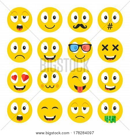 Emoji set. Funny cartoon emoticons, cute smiley faces with different face expressions, emotions. Happiness, anger, love, adoration, sadness, etc. Creative vector icons set isolated on white background