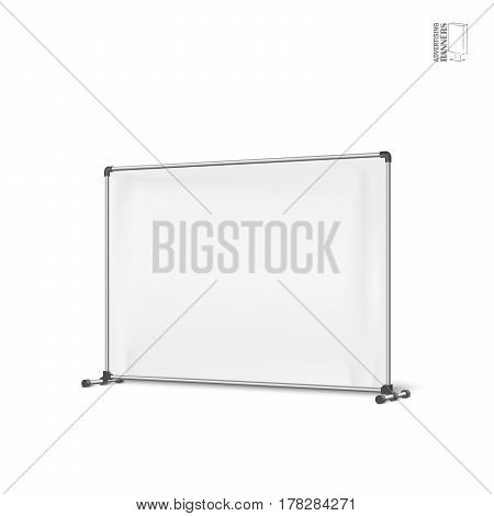 Advertising banners shield mockup, template. Illustration isolated on white background. Ready for your design. Product advertising