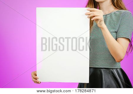 Woman Showing Blank White Big A2 Paper. Leaflet Presentation. Pamphlet Hold Hands. Girl Show Clear O