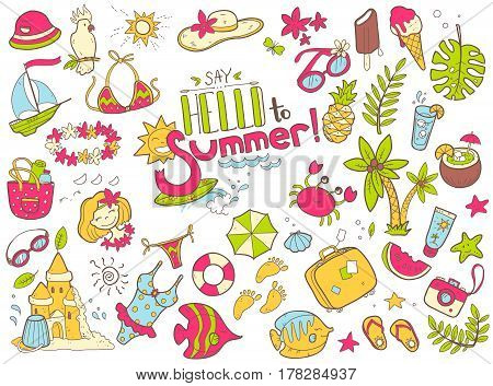 Vector cute doodle collection of summer. The sea, the ocean, the sun, desserts and adventures. Outline illustration. Bright colors