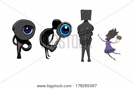 Four characters of male and female. Each character with his own oddities. One character gazes intently with one eye. The second character looks at something through a magnifying glass. The third character wrapped his long hands. The fourth character jumps