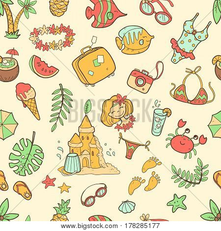 Vector cute doodle seamless summer pattern. The sea, the ocean, the sun, desserts and adventures. Cartoon style illustration. Bright colors