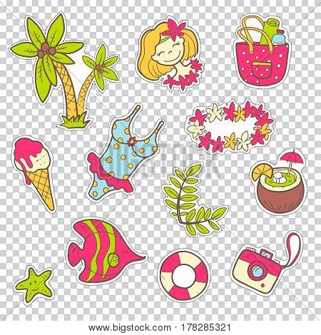 Vector cute doodle collection of summer stickers. The sea vacation, sun, fruits, desserts and adventures. Outline illustration. Bright  colors
