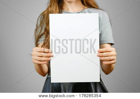 Woman Showing Blank White Big A4 Paper. Leaflet Presentation. Pamphlet Hold Hands. Girl Show Clear O