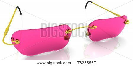 Eyewear with pink glasses lie on a white surface. Isolated. 3D Illustration
