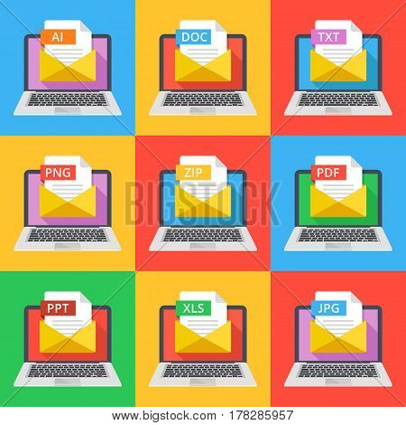 Laptops with envelopes and documents with different extensions. Email attachments, e-mail documents concept. AI, DOC, TXT, PNG, ZIP, PDF, PPT, XLS and JPG file extensions. Flat design vector icons set