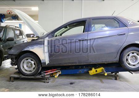 Kaluga, Russia - March, 21, 2017: Car in a body shop in Kaluga