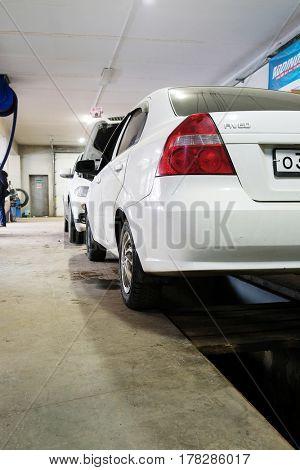 Kaluga, Russia - March, 21, 2017: Car in a car repair station
