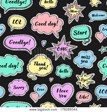 Hand drawn set of speech bubbles with dialog words: Hi Love Sorry Welcome Bye. Vector seamless pattern. Stickers on black background