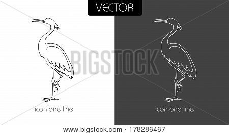 Heron Icon On White And Black