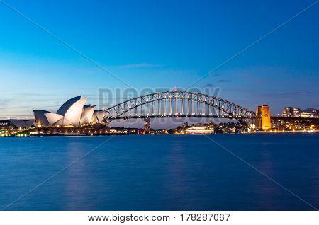 Sydney Opera House And Sydney Harbour Bridge At Night