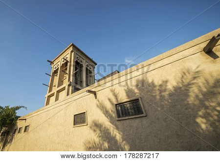 Traditional Islamic architecture - A wind tower. Old Arabian cooling technique.