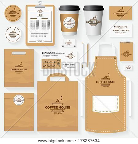 Coffee shop corporate identity template set with coffee machine logo. Restaurant cafe set card, flyer, menu, package, uniform design set. Vector Illustration