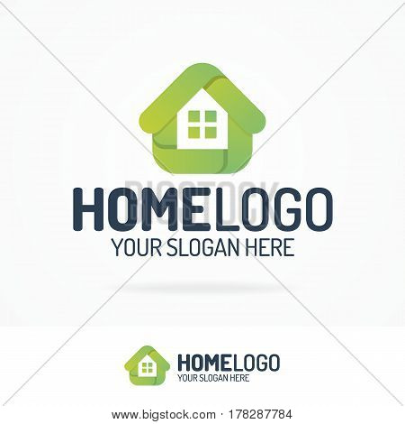 Home logo green color set can use for corporate identity eco house, home control, solar and natural energy and other. Modern home technology. Vector Illustration