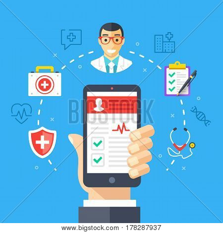 Mobile medicine, mhealth, online doctor. Hand holding smartphone with medical app. Modern flat design graphic concepts, thin line icons set for web banners, websites, infographics. Vector illustration