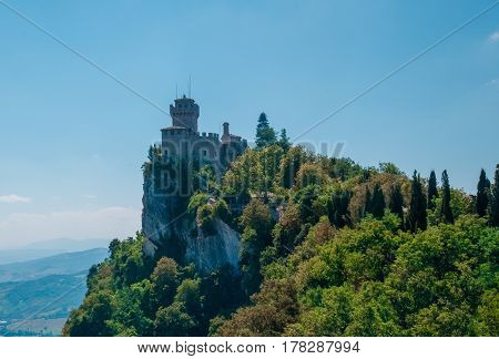 panorama view of ancient fortress of Republic San Marino