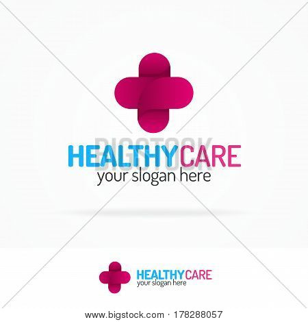 Healthy care logo set with cross color modern style for use medical company, family medicine practice, fast doctor, hospital, clinic, pharmaceutical firm etc. Vector Illustration