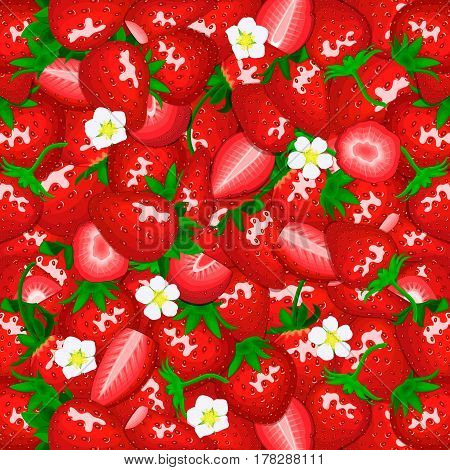 Ripe juicy strawberry background. Vector card illustration. Closely spaced fresh berry peeled, piece of half, slice, flower. Strawberry pattern for packaging design healthy food, diet, juce.