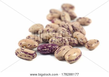 colorful beans isolated on white background, food.
